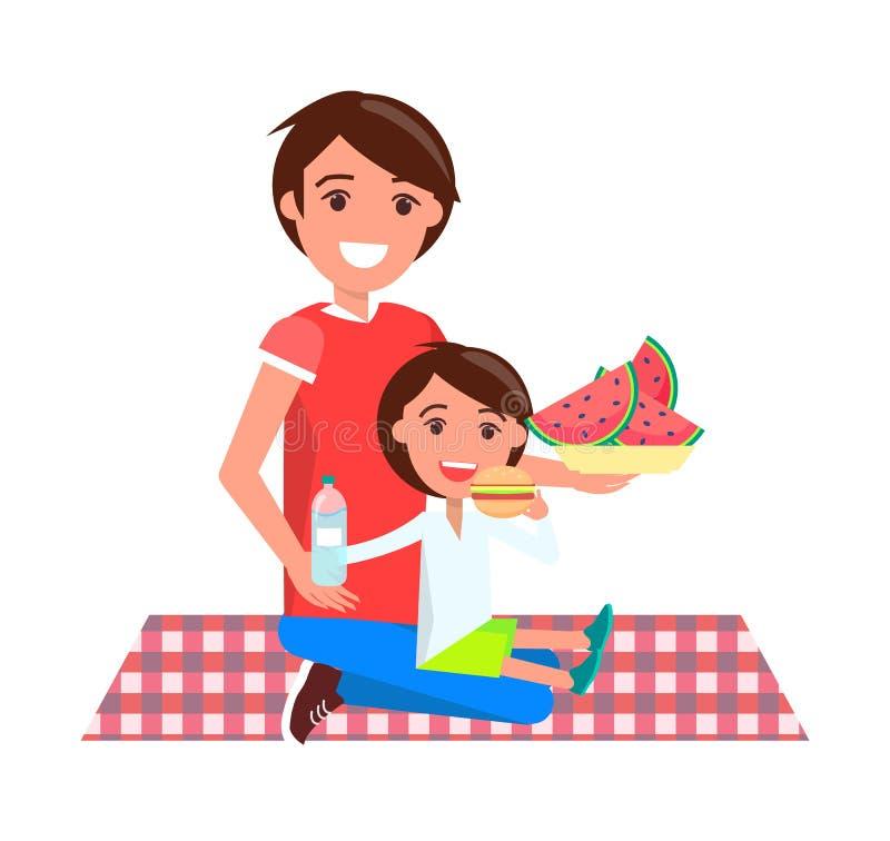 Vater und Tochter auf Picknick-Vektor-Illustration lizenzfreie abbildung