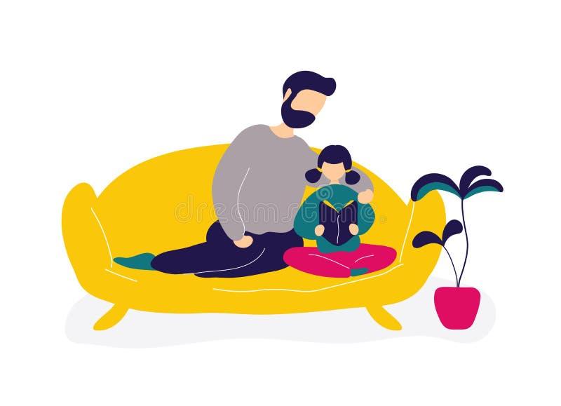 Vaterlesebuch mit Tochter auf Sofa lizenzfreie abbildung