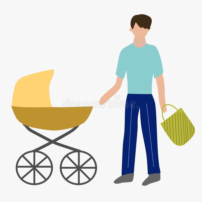Vaterschaftsurlaube Vater mit einem Pram vektor abbildung