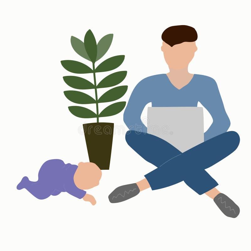 Vaterschaftsurlaube Vater mit einem Schätzchen lizenzfreie abbildung