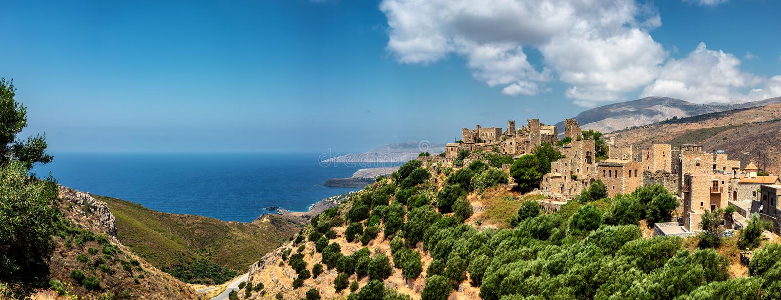 Vatheia, a village on the Mani Peninsula, in Greece. A major tourist attraction and an iconic example of the south Maniot vernacular architecture stock photo