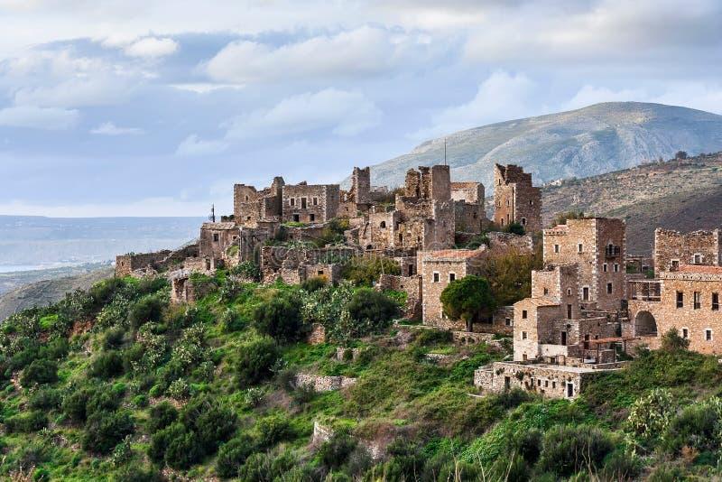 Vathia, Mani, Greece. Historic village Vathia, Mani, Peloponnese, Greece stock photos