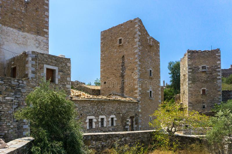 Panoramic view of tower houses at Vathia village in Mani Greece. Vathia village in Mani of Peloponnese in Greece royalty free stock images