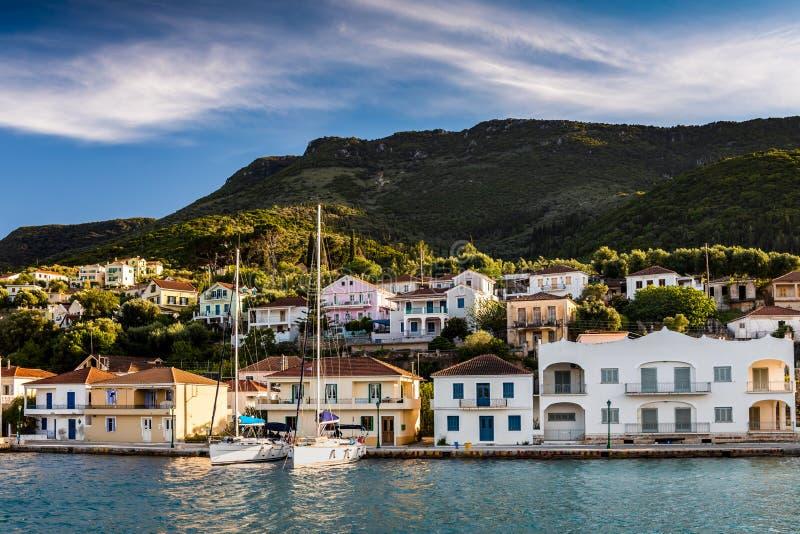 Vathy在伊塔卡海岛,希腊,日落的 图库摄影