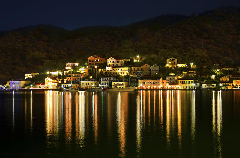 Vathy夜摄影在伊塔卡海岛 免版税库存图片