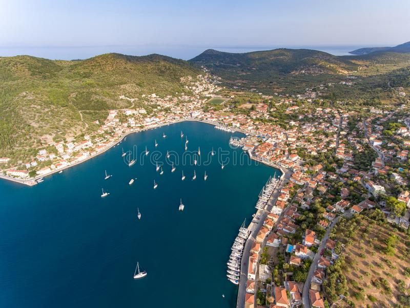Vathy Ithaca Greece birds aerial view Ithaka or Ithaki. Ithaca or Ithaka is a Greek island located in the Ionian Sea, off the northeast coast of Kefalonia and royalty free stock photography