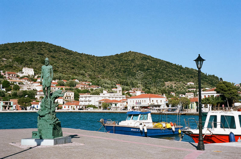 Vathy in Ithaca, Greece. The harbour at Vathy, on the island of Ithaca, Greece stock photos