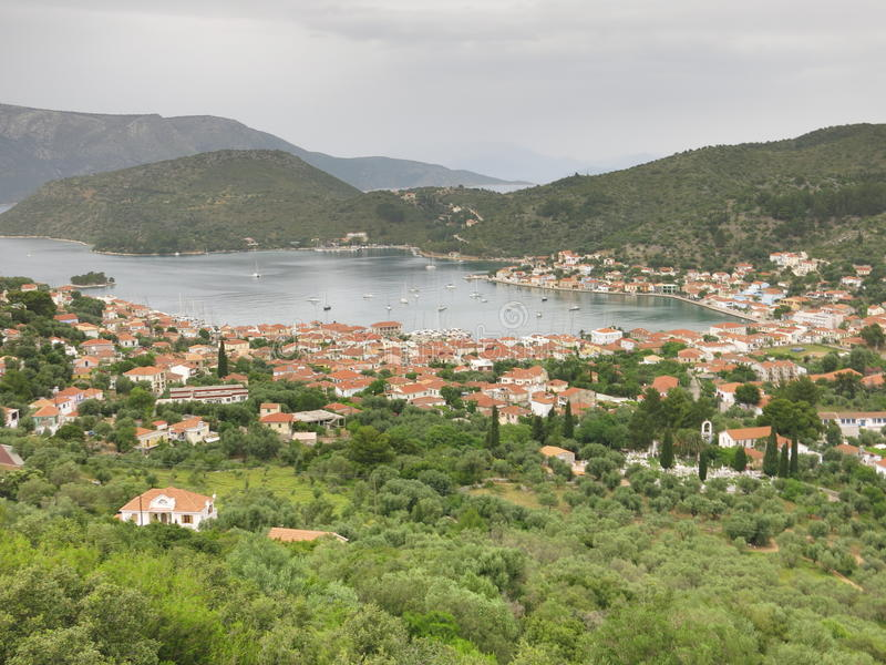 Vathy Village on Ionian Sea stock images