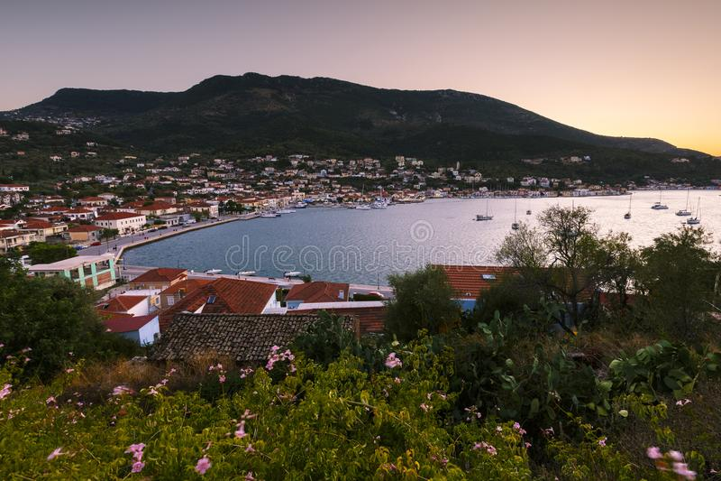 Ithaca. Vathy village and view of Molos Gulf in Ithaca island, Greece royalty free stock photography