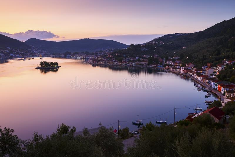 Ithaca. Vathy village and view of Molos Gulf in Ithaca island, Greece royalty free stock image