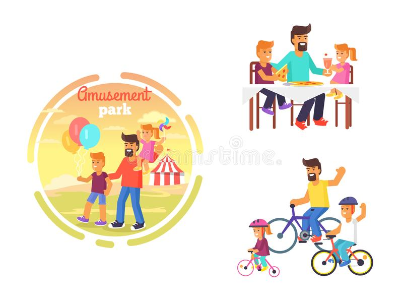 Vati, der Tag des Vater-s mit Kinderplakat feiert stock abbildung