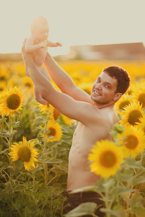 Vati hält das Kind in seinen Armen auf dem Feld von Sonnenblumen stockbild