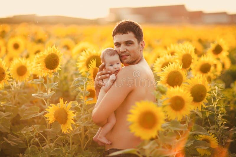 Vati hält das Kind in seinen Armen auf dem Feld von Sonnenblumen lizenzfreies stockbild