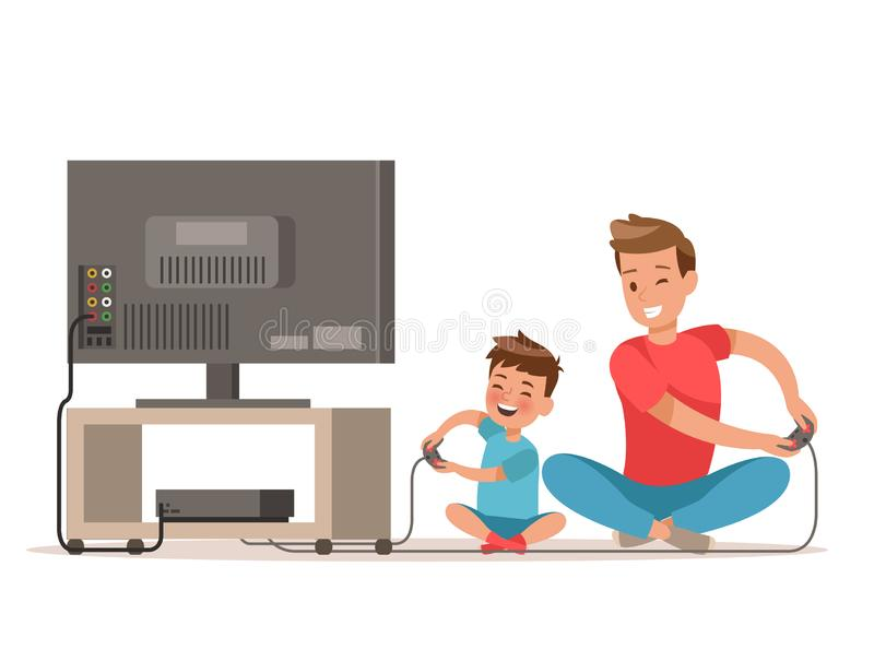 Vati und Sohn, die Spiel spielen Charakterdesign lizenzfreie abbildung