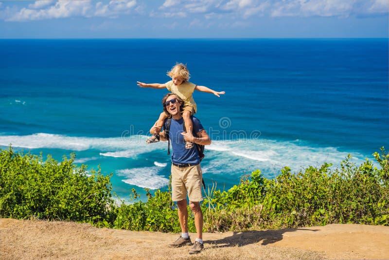 Vati- und Sohnreisende auf einer Klippe über dem Strand Leeres Paradies lizenzfreies stockbild