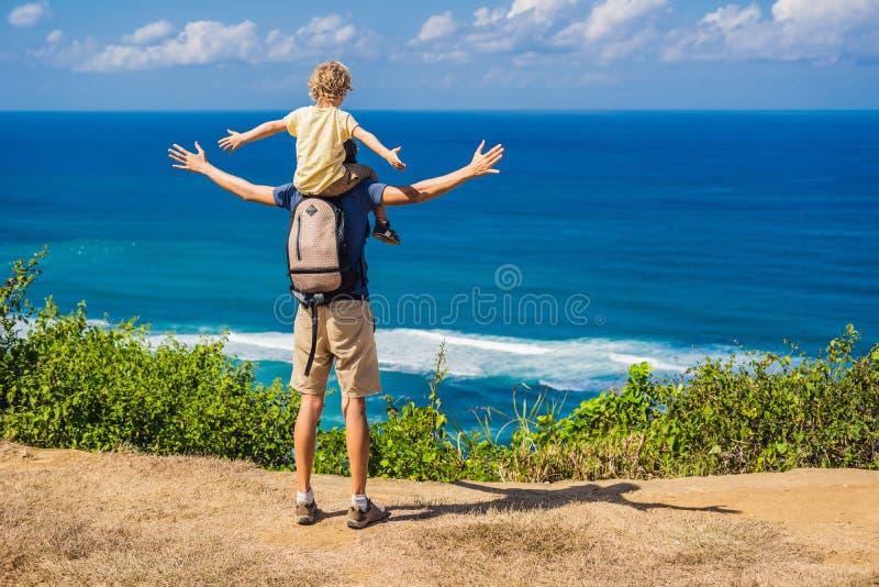 Vati- und Sohnreisende auf einer Klippe über dem Strand Leeres Paradies stockfotos