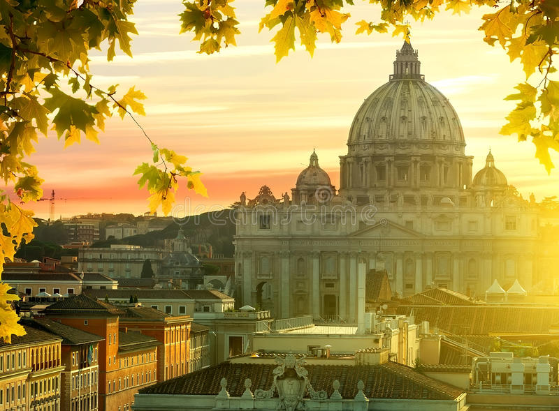 Vatican in autumn. View on Vatican and roofs of houses at sunset in autumn, Rome, Italy royalty free stock photos