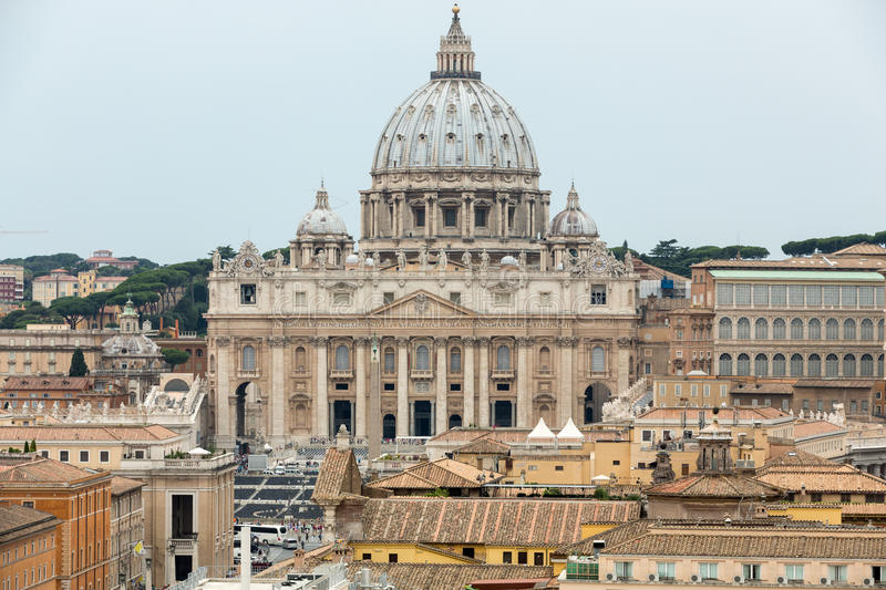 Vatican and Basilica of Saint Peter seen from Castel Sant`Angelo. Roma, stock photo