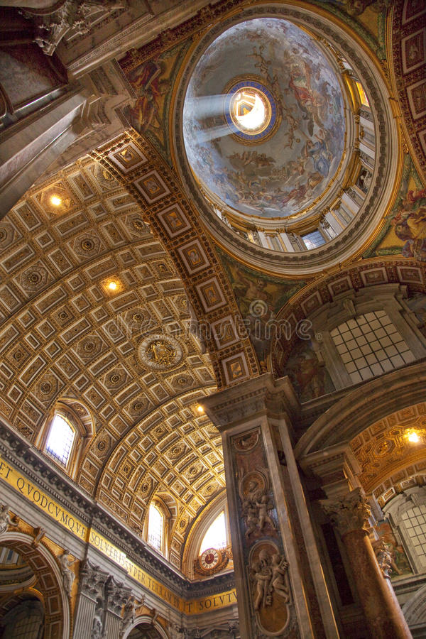 Vatican Ceiling Dome Rome. Vatican Inside Ornate Ceiling with Dome Saint Peter's Basilica Rome Italy royalty free stock photography