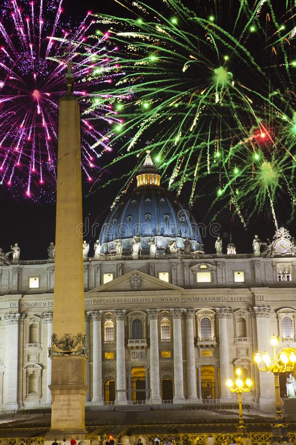 Vatican. Celebratory fireworks over a St Peter`s Square. Rome. Italy stock image
