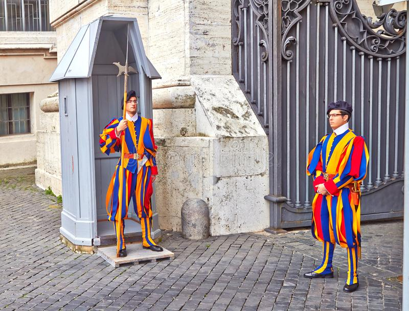 Vatican Guard by Swiss guard soldiers. The Swiss guard is currently the only type of armed forces of the Vatican stock images