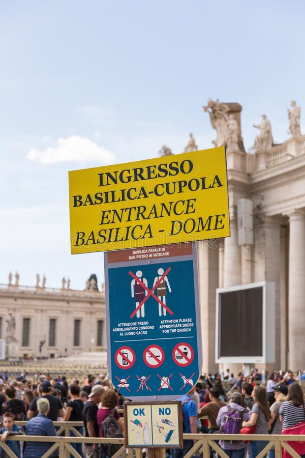 Entrance signat the entrance of Saint Peter Basilica, Vatican City. stock photography