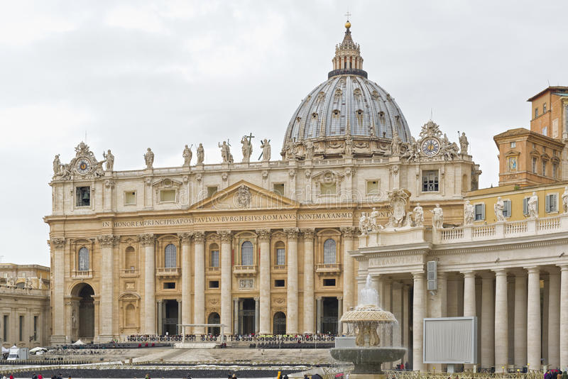 Vatican City, Basili of Saint Peter. VATICAN CITY, VATICAN CITY STATE - OCTOBER 02: Panoramic view of St. Peter`s Basilica on a rainy day at the Vatican City stock images
