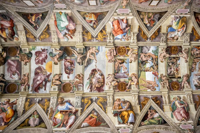 VATICAN CITY, VATICAN: Ceiling of the Sistine chapel in the Vatican Museum, Vatican City. Rome, Italy stock image