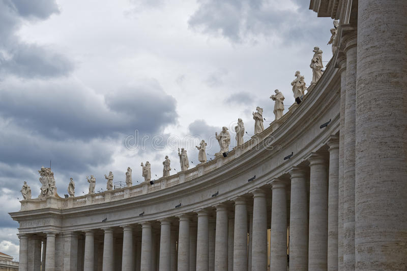 Vatican City, Detail of the 162 statues of Saints. VATICAN CITY, VATICAN CITY STATE - OCTOBER 02: Detail of the 162 statues of Saints, in St. Peter`s Square at royalty free stock photos