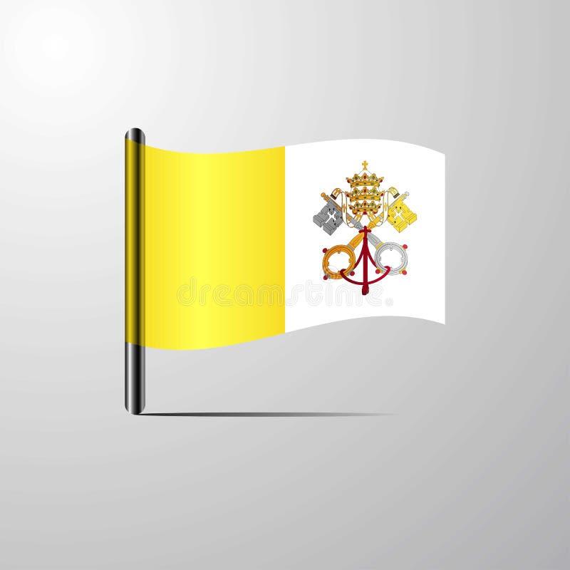 Vatican City Holy See som vinkar den skinande flaggadesignvektorn royaltyfri illustrationer