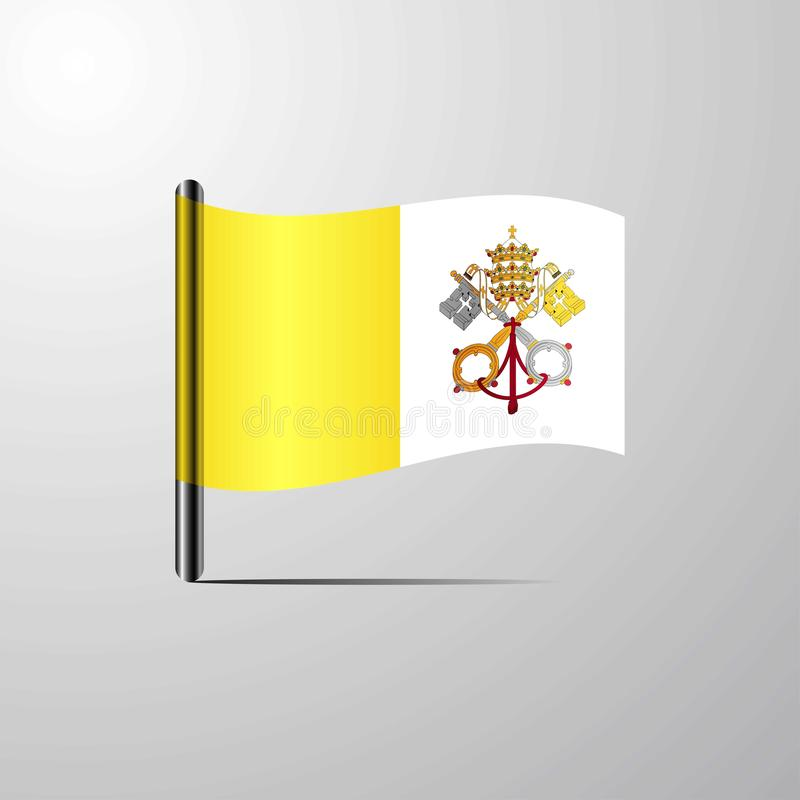 Vatican City Holy See waving Shiny Flag design vector royalty free illustration