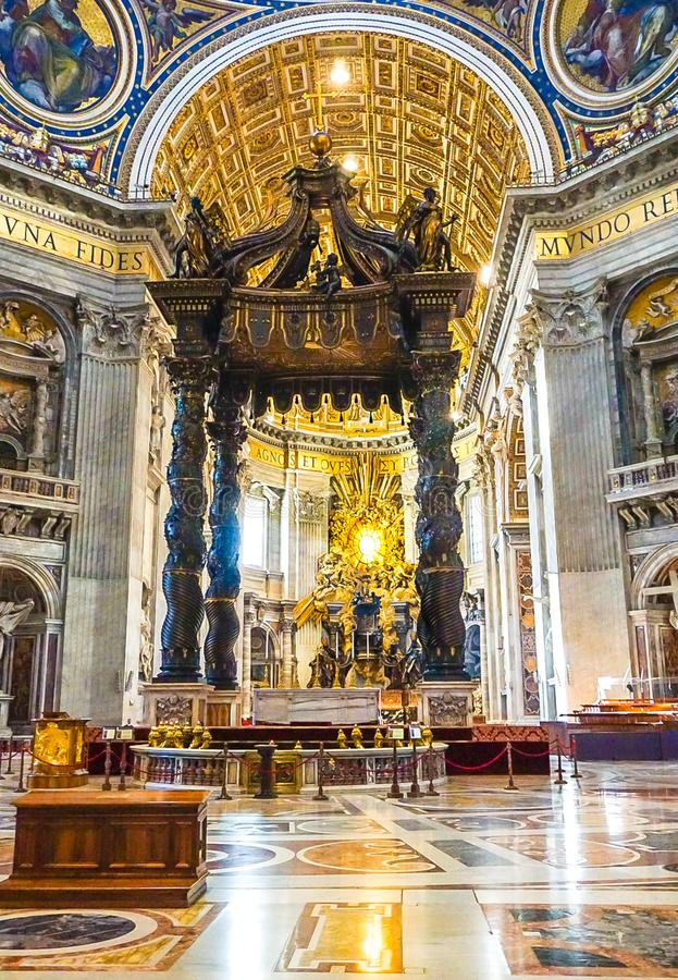 VATICAN CITY, ITALY: OCTOBER 11, 2017: The interior of St Peter`. S Basilica Cathedral in Rome stock photo