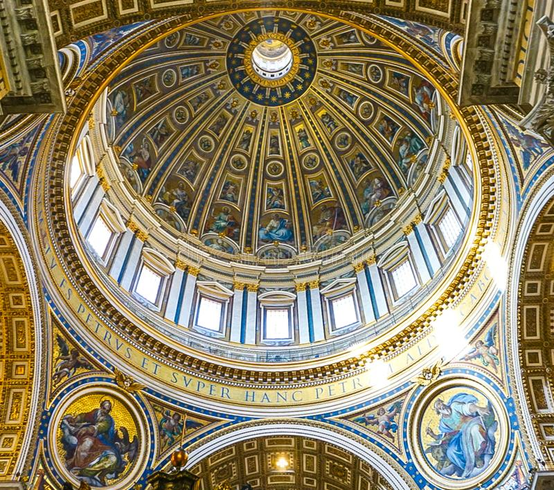 VATICAN CITY, ITALY: OCTOBER 11, 2017: The interior of St Peter`. S Basilica Cathedral in Rome royalty free stock images
