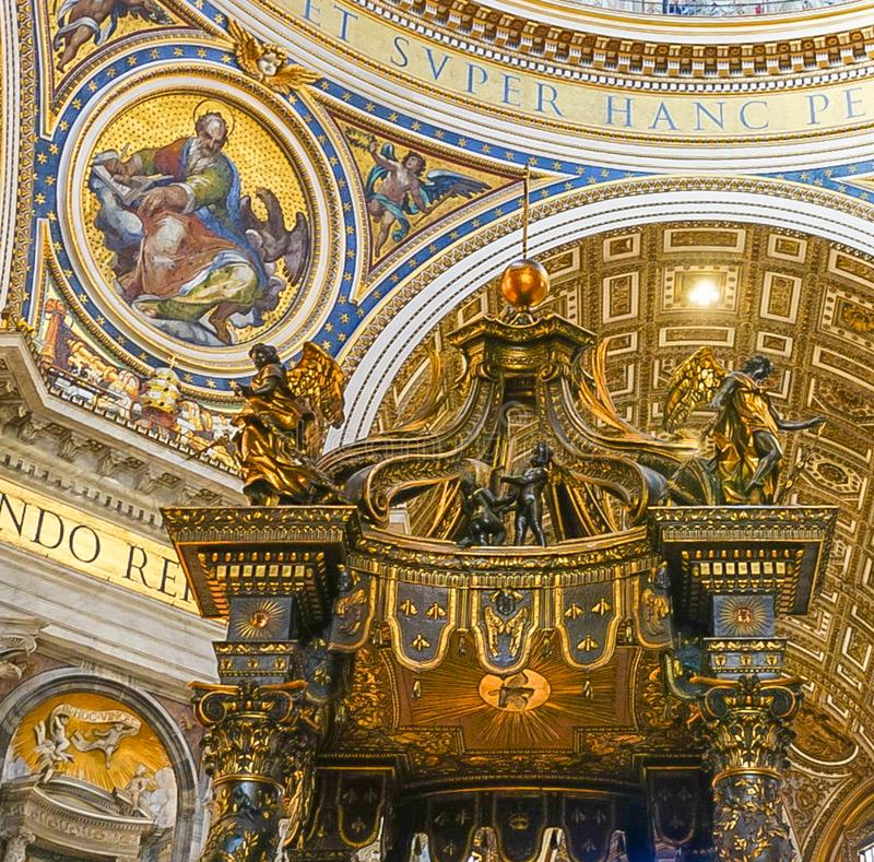 VATICAN CITY, ITALY: OCTOBER 11, 2017: The interior of St Peter`. S Basilica Cathedral in Rome stock photography