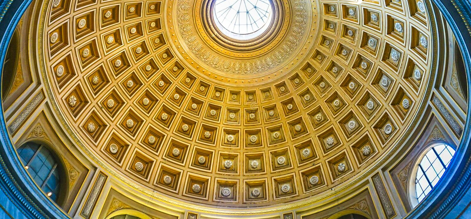 VATICAN CITY, ITALY: OCTOBER 11, 2017: Ornate dome ceiling in. The rotunda of the Vatican Museum stock photo