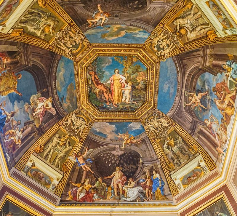 VATICAN CITY, ITALY: OCTOBER 11, 2017: Paintings on the ceilin. G in the Vatican Museum stock photography