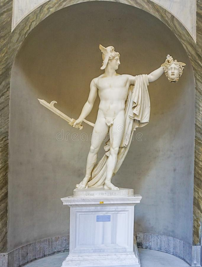 VATICAN CITY, ITALY: OCTOBER 11, 2017: Perseo trionfante, Pers. Eus Truimphant statue in the Vatican Museum stock photography