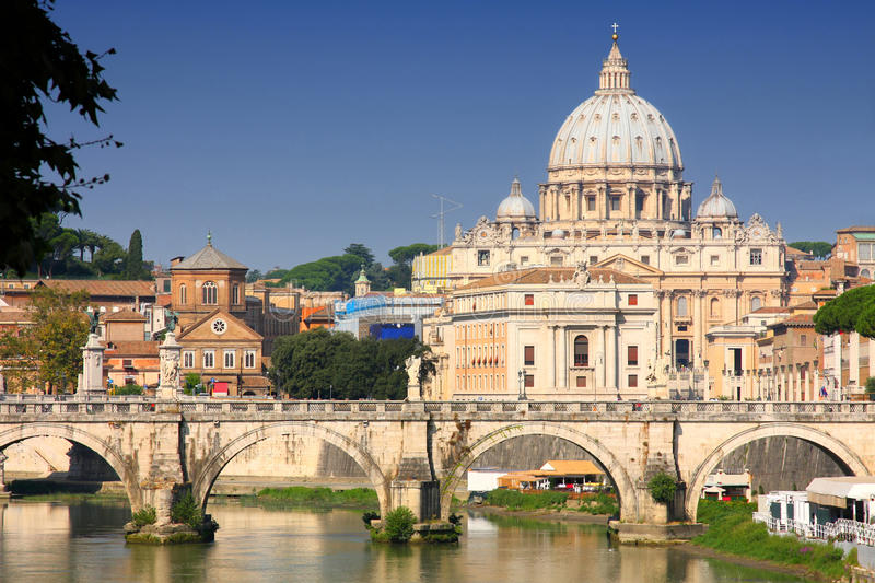 Vatican City from Ponte Umberto I in Rome, Italy royalty free stock photo