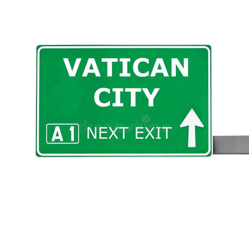 VATICAN CITY road sign isolated on white stock photos