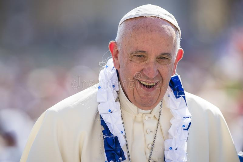 Vatican City September 03, 2016: Slut för påve Francis upp royaltyfri bild