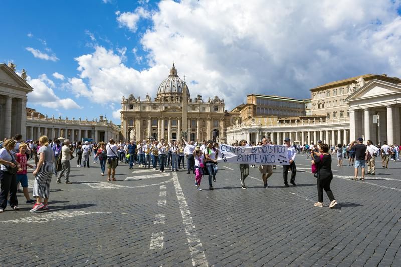 Tourists in front of St. Peter`s Basilica in Vatican City, Rome, Italy royalty free stock images