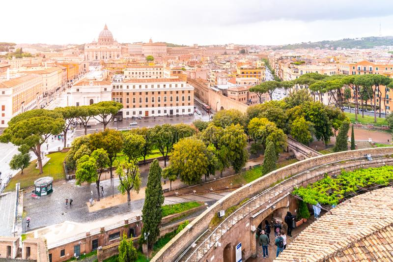 Vatican City with St. Peter`s Basilica. Panoramic skyline view from Castel Sant`Angelo, Rome, Italy stock images