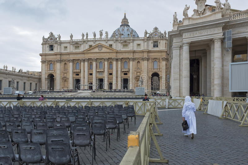 Vatican City, St. Peter`s Square. VATICAN CITY, VATICAN CITY STATE - OCTOBER 02: St. Peter`s Square in the Vatican, detail of seating for pilgrims. at the royalty free stock photo