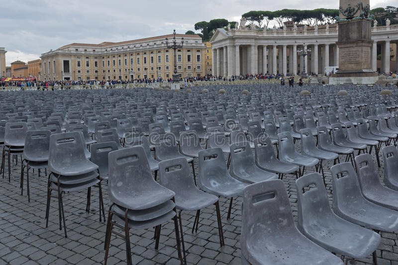 Vatican City, St. Peter`s Square. VATICAN CITY, VATICAN CITY STATE - OCTOBER 02: St. Peter`s Square in the Vatican, detail of seating for pilgrims. at the stock image