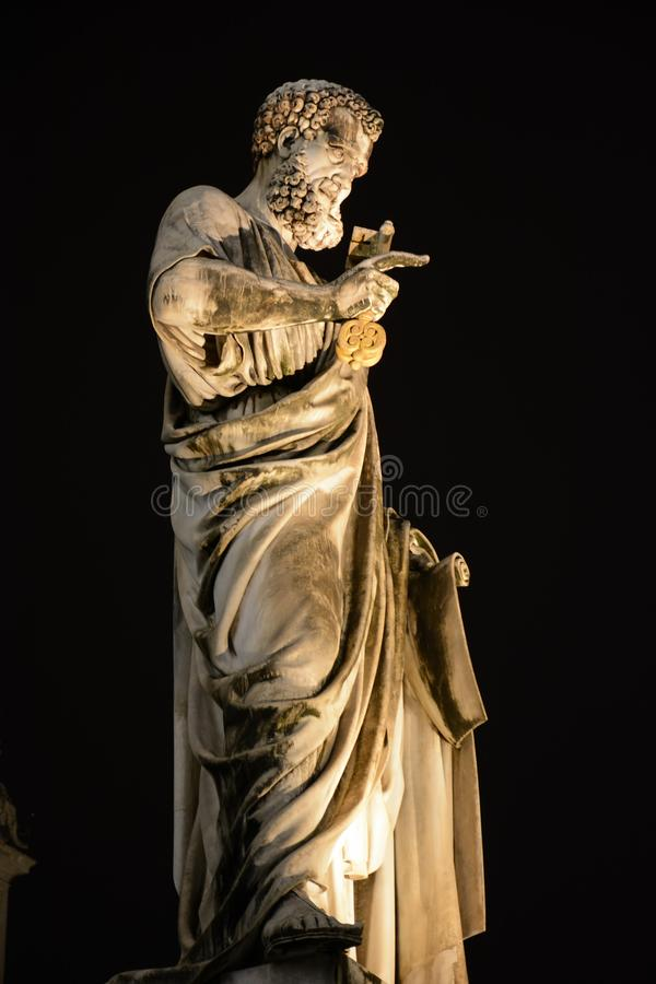 Vatican City, Vatican - December 14, 2018. Statue of Saint Peter holding a key in Vatican near St Peters Basilica in Rome, Italy royalty free stock photo