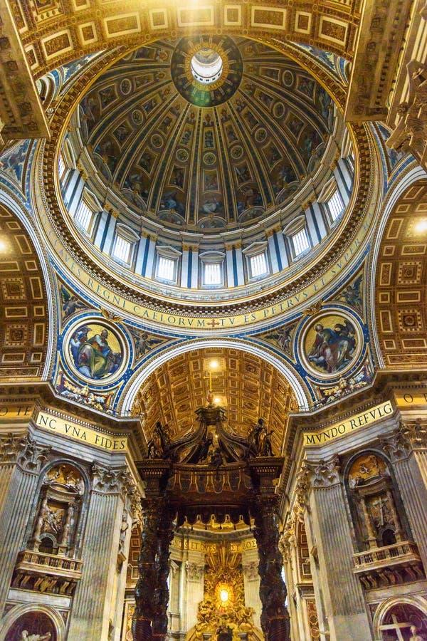 Altar with Bernini`s baldacchino. Interior of Saint Peter`s Basilica in Vatican. Vatican city, Vatican - October 05, 2018: Altar with Bernini`s baldacchino stock photos
