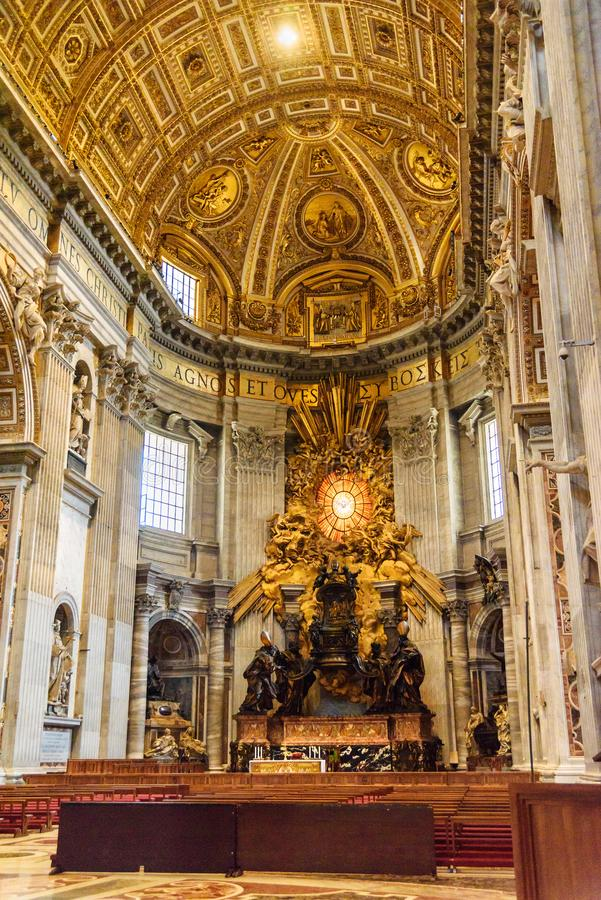 Cathedra Petri, Altar of the Chair of St. Peter. Interior of Saint Peter`s Basilica in Vatican stock photos