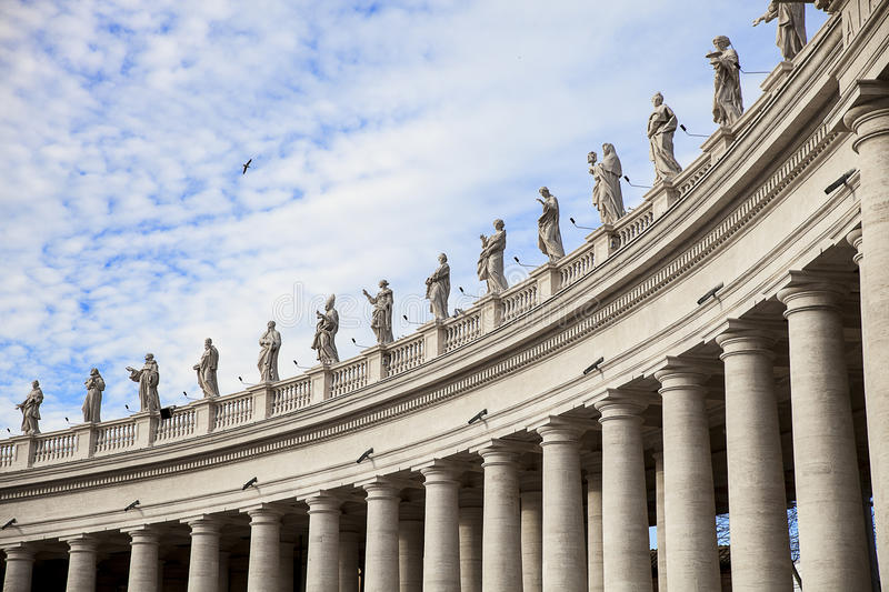 Vatican. Colonnade of St. Peter in the Vatican stock photo