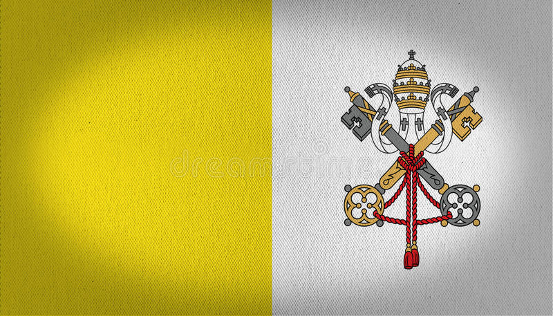 Vatican flag. Fabric texture, two keys and some other elements in the main logo on the right side,yellow and white colors, vignette image, ilustration stock illustration