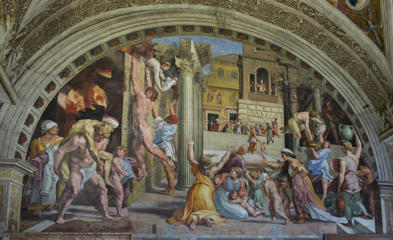 Vatican frescoes. Italy. Magnificent frescoes of the Vatican Museums royalty free stock photos